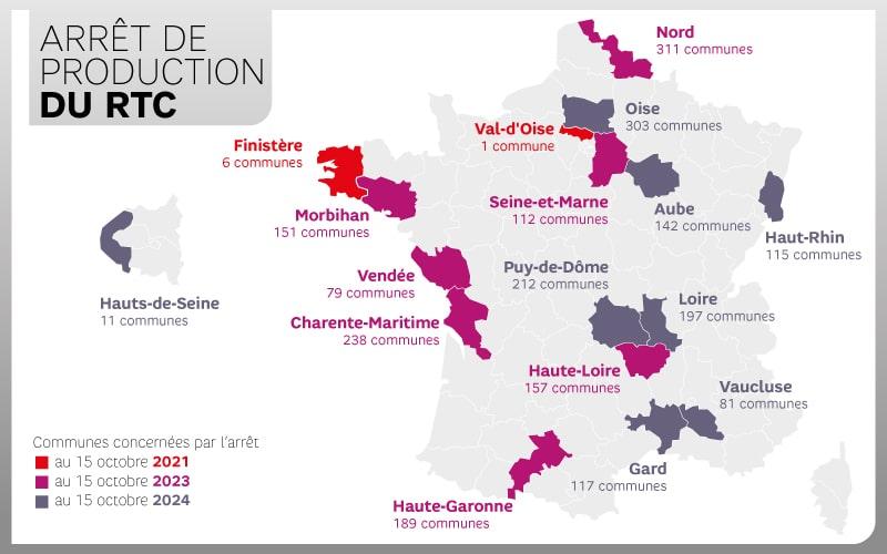 les communes Bretonnes concernées par la fin du RTC en octobre 2021